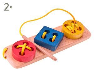 Set de 2 juguetes para coser de madera de haya - multicolor