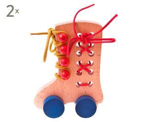 Set de 2 juguetes para hacer lazadas de madera de haya - multicolor