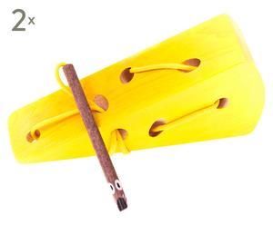 Set de 2 juguetes de queso de madera de haya - multicolor