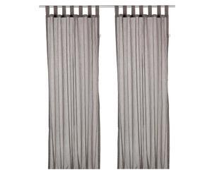 Set de 2 cortinas a rayas - gris