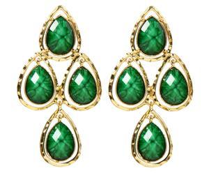 Pendientes Kupta - oro y verde