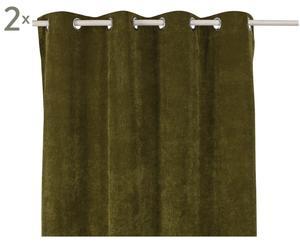Set de 2 cortinas Luciano, verde oliva - 140x245
