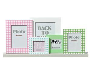 Set de 5 portafotos con estante – 6 piezas