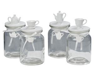 set de 4 frascos de vidrio