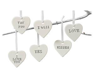 Set de 6 corazones decorativos de cerámica - blancos