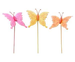 Set de 3 pinchos decorativos para plantas Butterfly