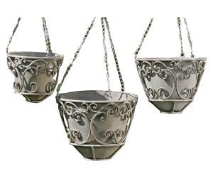 Set de 3 porta-macetas colgantes en metal lacado Giulio