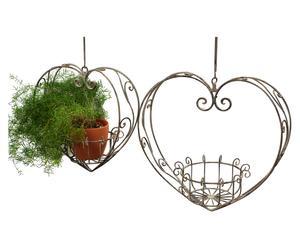 Set de 2 porta-macetas colgantes en metal lacado Corazón