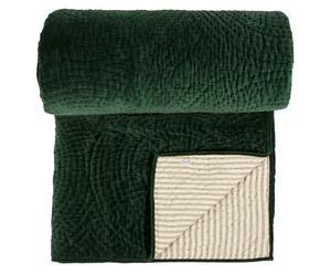 Edredón de algodón reversible, verde y crema - 240x260