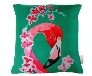 Funda de cojín hecha a mano en seda Flamingo and Flowers- 45 x 45