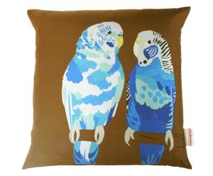 Funda de cojín hecha a mano en seda Blue Budgies - 45 x 45