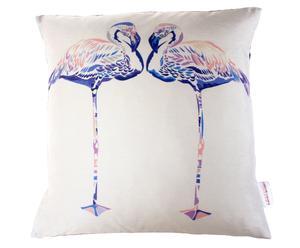 Funda de cojín hecha a mano en seda Lilac Flamingos- 45 x 45