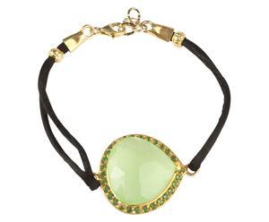 Pulsera Basia - oro, negro y verde claro