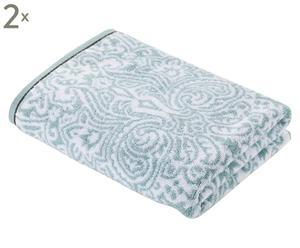 Set de 2 toallas Venezia, azul claro y blanco – 90x150