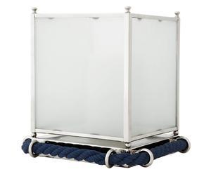 Portavelas Acuario, azul y blanco – 32x32x32