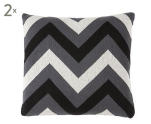 Set de 2 cojines Graphic, gris y negro -50x50