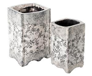Set de 2 maceteros de cerámica - crema