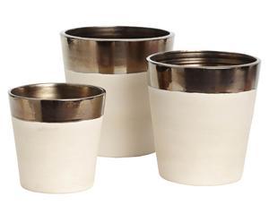 Set de 3 maceteros Celine – blanco y oro