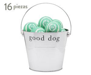 Set de 15 pelotas para perro con cubo de acero- verde
