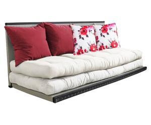 Sofá / futón multifuncional Chico, crema y rojo - 160x200