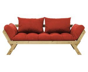 Sofá convertible en cama Bebop - miel y rojo