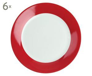 Set de 6 platos llanos de porcelana, rojo y blanco - Ø 27