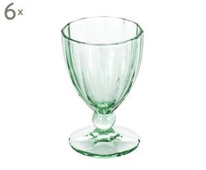 Set de 6 copas de vidrio Anais - verde menta