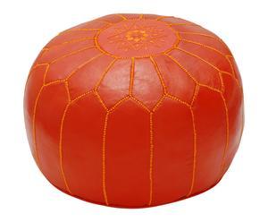 Puf de piel hecho a mano - naranja