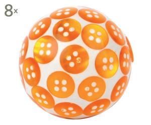 Set de 8 pomos hechos a mano Botones, naranja - Ø4 cm