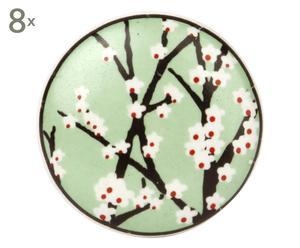 Set de 8 pomos hechos a mano Lynn, verde y blanco - Ø4 cm