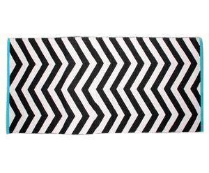Alfombra en algodón 100% Chevron, turquesa, negro y blanco – 70x200