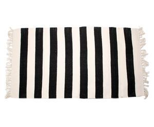 Alfombra en algodón 100% Stripes, negro y crema – 70x200
