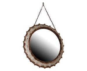 Espejo redondo en metal – crema y marrón