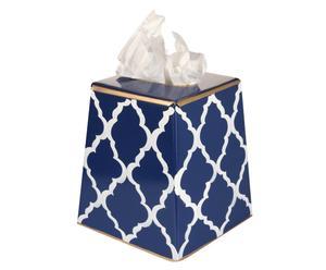 Caja de pañuelos pintada a mano Madeline - azul y blanco