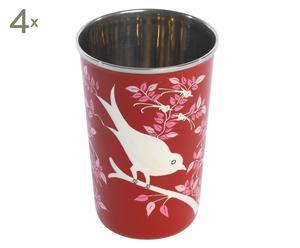 Set de 4 vasos pintados a mano Lolita – rojo