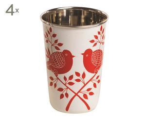 Set de 4 vasos pintados a mano Jara - rojo