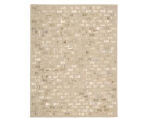 Alfombra hecha a mano en piel Rania, beige - 107 x 168 cm