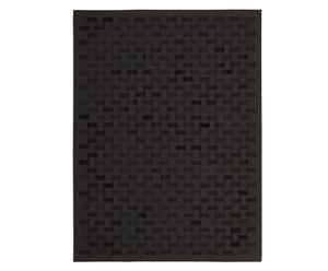 Alfombra hecha a mano en piel Rania, negro - 107 x 168 cm