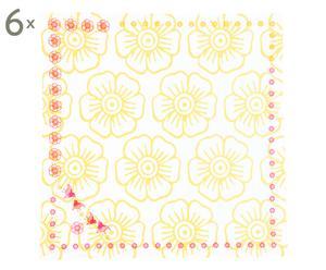 Set de 6 servilletas de algodón Mina, amarillo - 40x40