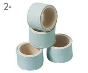 Set de 8 servilleteros de cuero sintético – azul