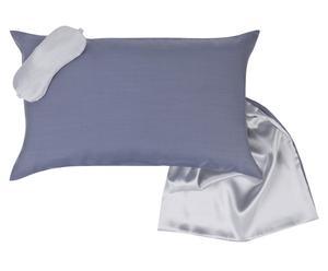 Cojín, antifaz y bolsa de seda, azul oscuro y azul claro – 30x50