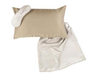 Cojín, antifaz y bolsa de seda, campán y beige – 30x50