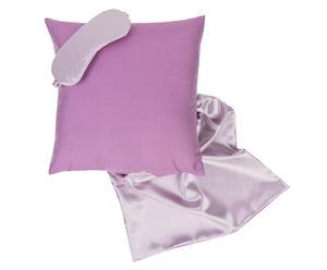 Cojín, antifaz y bolsa de seda, rosa palo y lila – 50x50