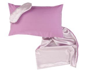 Cojín, antifaz y bolsa de seda, rosa palo y lila – 30x50