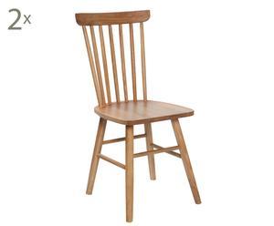 Set de 2 sillas en madera de roble Elche