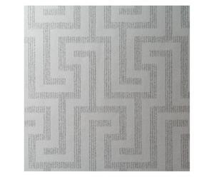 Papel pintado tejido no tejido Rowan, blanco y plateado – 52x10