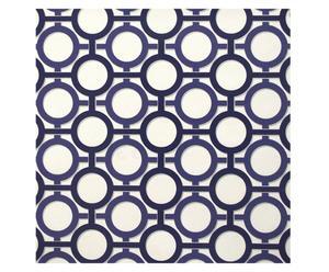 Papel pintado tejido no tejido Trevor, blanco y azul – 52x10