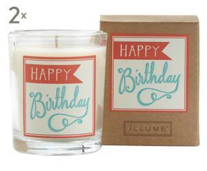 Set de 2 velas perfumadas de cera de soja y abeja Birthday – cedro y mandarina