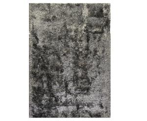 Alfombra hecha a mano en poliéster Highlands, gris oscuro-140x200