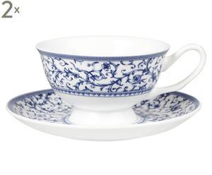 Set de 2 tazas de porcelana con plato Arabesque